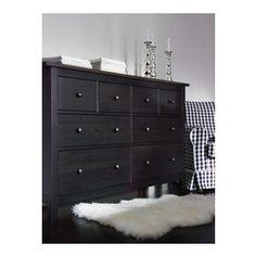 HEMNES 8-drawer dresser, black-brown - IKEA