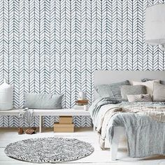 "Awesome and artistic vinyl material self-adhesive temporary wallpaper, easy to use! Peel it, Stick it and LOVE it! Add to your room personalised charm only in few minutes! :) SIZE: Small piece 20.9'' wide by 48"" HeightLarge piece 20.9"" wide by 96"" Height COLORS: Background: NAVYPattern: WHITE Adhesive wallpaper, which you can peel, and stick anywhere you like and you will not need to use extra glue or something like that. *It is recommended that you apply wallpaper to surfaces that have…"