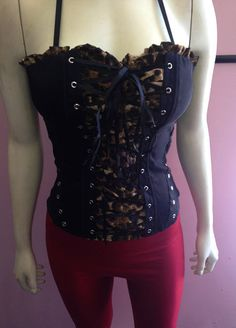 Leopard Bustier Top - Corset Top - Lace up Top - Club Wear -  FREE SHIPPING! #NA #Bustier #Clubwear