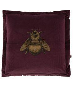 Timorous Beasties Purple Napoleon Bee Velvet Cushion at Liberty London