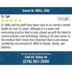Mills and his staff have taken care of our family's dental health for over 25 years. Commercial Windows, Smart Program, Mary K, Review Board, Vet Clinics, Ear Infection, Work Ethic, Dental Health, Spa Day