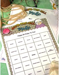 """Note:  Photo shows a title of """"Happy Birthday To You"""" - our standard games come without this title - but you can optionally personalize this game with any title such as this, or the guest of honor's name.Game Product InformationA funny and slightly irreverent version of the traditional bingo game, except where the sqaures aren't numbers, but age related terms such as """"sensible shoes"""", """"hair loss"""" or """"earwax remover"""".   Here's Whats included: Pack of 20 Bingo Game Cards (8.5"""" x 11"""" size) ..."""