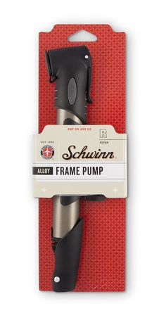 Schwinn Frame Pump. Capsule (www.capsule.us) recently redesigned packaging for Schwinn that's hitting the shelves of Target (2010). A consistent billboard effect was created  with the use of the Schwinn quality seal and script wordmark, color  palette, star pattern, and bold typography treatment. It leverages the  brand's vibe of classic Americana with a contemporary spin on a  decidedly retro look. These brand elements create a strong presence in  the aisle. This model US$10.79