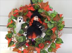 Neddle Felted Halloween wreath Made by Tess