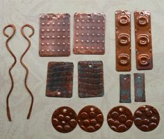Handmade Embossed Copper Earring Components   14 by SunStones