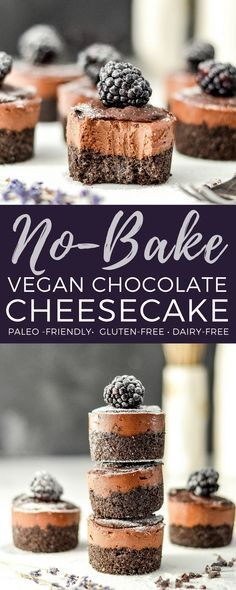 Mini No-Bake Vegan Chocolate Cheesecakes are a simple, elegant dessert! Vegan & dairy-free with a paleo & gluten-free option! via @joyfoodsunshine