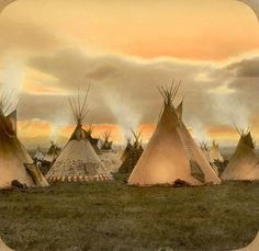 Blackfoot camp in the evening. Early 1900s. Montana. Glass lantern slide by Walter McClintock.
