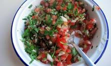 Rick Bayless' hand-chopped salsa. Photograph: Felicity Cloake for the Guardian