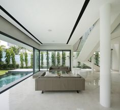 Interior, Appealing Open Interior Design To Outdoors In Living Space With White Scheme Marble Floor Sofa Glass Table Ceiling Lamp Pillar Staircase Pool: Open Interior Design Extending Rooms to Spectacular Outdoors