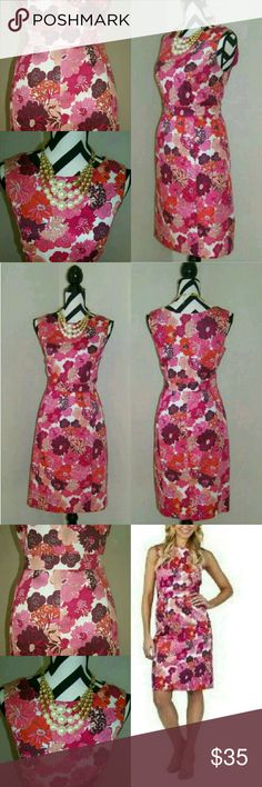 "Liberty of London Floral Sheath Dress Jackie-O style fitted sheath dress!  Banded waist. Pencil skirt w/small vent slit on back. Comfortable stretch.  Classy vintage vibrant & bold flower print in pinks, purples & orange.   Gorgeous! Like New condition! Bought from @wendibearr - worn only once!   {Measurements} Bust: 40"" Waist: 32-33"" Hips: 42"" Strap Width: 3""  {Materials} 98% Cotton 2% Spandex Lining: 100% Polyester Liberty Of London Dresses Midi"