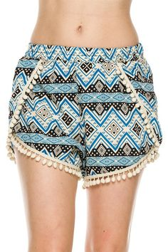 Women's Clothing Aggressive Blue Tribal Print Pom-pom Shorts Small Clothing, Shoes & Accessories