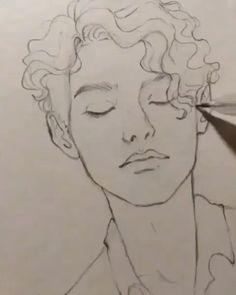 Aquarellmalerei-Gesichtszeichnung - Famous Last Words Cool Art Drawings, Pencil Art Drawings, Art Drawings Sketches, Drawing Drawing, Drawing Ideas, Drawing Faces, Nature Drawing, Drawing Practice, Drawing Hair