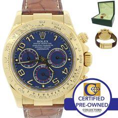Rolex Daytona Cosmograph 116518 Blue 18K Yellow Gold Chronograph Watch w/ Box