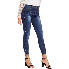 8541f4a79c16ce Pearl Beaded Faded Wash Skinny Jeans - Trendsology Cotton Style, Levis,  Casual Jeans,