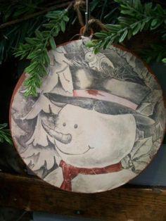 NWT-6-Rustic-Frosty-the-SNOWMAN-Bird-Snow-Metal-CHRISTMAS-Disc-Disk-Ornament-B