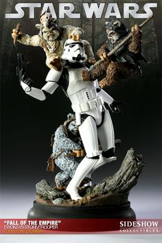 Sideshow Collectibles and Lucasfilm are proud to present the 'Fall of the Empire' - Ewoks VS Stormtrooper Diorama. Siding with the Jedi and the Rebel Alliance, the underestimated Ewoks ultimately over