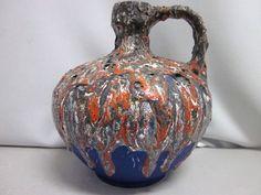 Fat LAVA glaze pitcher RUSCHA 340 red & blue WGP German pottery Tschoerner 60s