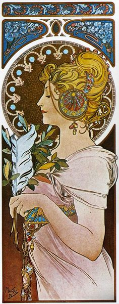 "feuillesmortes: "" ""Primrose and Feather (1899) by Alphonse Mucha. "" The geometrical mosaic motif in Feather contrasts with the floral ornamental circle inspired by nature in the companion piece..."