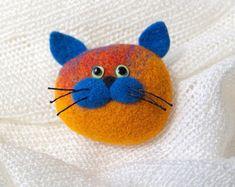 Cat Brooch Small Gift Needle Felted Brooch Felt Brooch