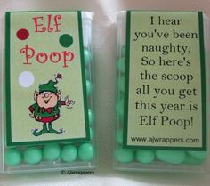 """Elf Poop"" - what a hilarious stocking stuffer! Primitive Christmas, Noel Christmas, Christmas Goodies, Christmas Humor, Winter Christmas, All Things Christmas, Christmas Presents, Christmas Decorations, Christmas Ideas"