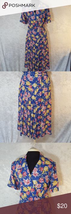90's Vintage Talbots Vintage 1980's or 1990's floral dress by Talbots.   Has shoulder pads, pleated skirt zone, and button waist.  Size 12 petite in 100% polyester.  Great vintage statement piece.  Used condition not brand new. Feel free to ask questions or request more photos. I do bundle discounts and accept offers. Check my listings for items that are free with a minimum purchase just add to a bundle or submit an offer. Thanks for looking and happy poshing! Talbots Dresses