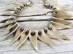 Leather Jewelry - Leather Necklace - Spike Necklace - Gold Leather - Tribal Jewelry - Boho Necklace - Statement Necklace by lillianschmoo on Etsy