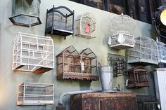 Birdcages of all shapes and sizes.