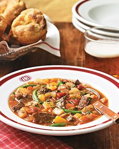 old-fashioned vegetable beef soup - not my recipe Cuisine at Home recipe Crockpot Vegetable Beef Soup, Beef Soup Recipes, Chili Recipes, Veggie Recipes, Dinner Recipes, Herb Recipes, Chili Soup, Soup And Salad, Soups And Stews