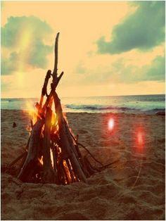 Beach. Bonfire. Sunset. by Andrea Guerrero