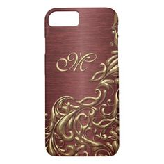 Custom Faux Shiny Gold Floral Swirl Pattern iPhone 8/7 Case - classic gifts gift ideas diy custom unique