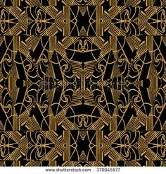 Digital art collage technique modern geometric ornate decorative abstract arabesque seamless pattern design in dark golden and black colors.