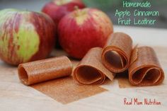 Homemade Apple Cinnamon Fruit Leather from Real Mom Nutrition (unlike the boxed version, there's no partially hydrogenated oils or food dyes in these!)