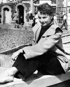 Audrey enjoying the day in London, circa 1949