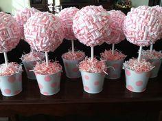 Pink & White Ribbon Topiary
