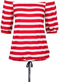Tolles rot weiß gestreiftes Carmen Shirt im Angebot. Der Ausschnitt mit Gummi-Zug kann als Off- und On-Shoulder getragen werden. Die halblangen Ärmel schließen ebenfalls mit einem elastischen Bund ab. Der elastische Saum wird modisch, lässig getragen und das angesetzte Band ohne Funktion bietet einen weiteren Hingucker