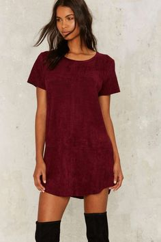 Nasty Gal This is the Girl Vegan Suede Tee Dress - Plum | Shop Clothes at Nasty Gal!