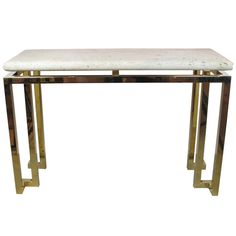 Modernist Fossilized Stone and Brass Console Tables