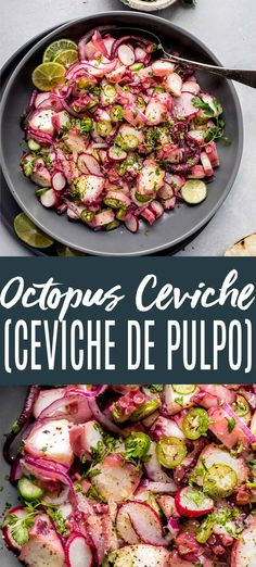 Octopus Ceviche (aka ceviche de pulpo) combines tender octopus with tangy lime juice, red onions, cilantro and chiles for a light and refreshing appetizer. Serve it with tortillas or homemade tortilla chips and enjoy! // recipe // peruvian // how to make // restaurant Summer Lunch Recipes, Snack Recipes, Dinner Recipes, Appetizer Recipes, Homemade Tortilla Chips, Homemade Tortillas, Ceviche Ingredients, How To Cook Octopus, Octopus Recipes