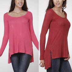 The RORY side slit hi-lo top- CORAL 95% rayon, 5% spandex. Super soft. Fun bright coral color. ‼️NO TRADE‼️ Tops