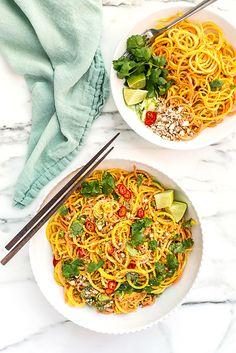 Root Vegetable Noodle Salad with Sesame-Almond Dressing