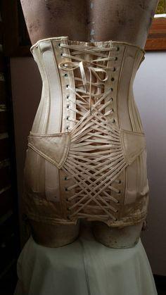 Vintage medical belt corset back brace with suspender  hooks internal velvet trim made in Australia by Jenyns size 8