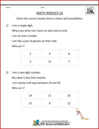 Math Riddles 1A, 1st grade math riddles