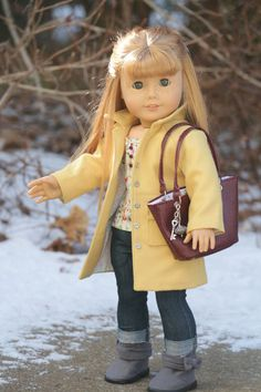 Sunny With A Wind Chill Four Piece outfit made to it 18 inch dolls like American Girl Features the Noodle Clothing Wind Chill Coat. Listing