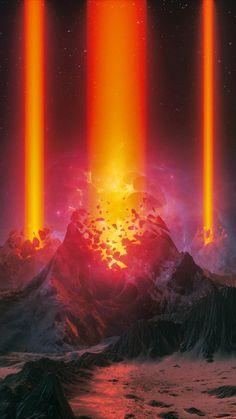 Fantasy, volcano, eruption, 720x1280 wallpaper