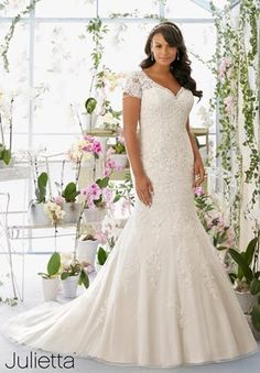 Mori Lee Julietta SPRING 2016 Collection: 3197 - Crystal and Pearl Chandelier Beading onto the Net Gown with Alençon Lace Appliqués Over Soft Satin