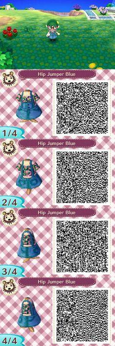 Blue jumper w/ floral crop top: ACNL QR clothes