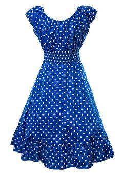 1fadc478339 Sidecca Retro 1950s Polka Dot Smock Swing Dress-Royal-Medium Swing Dress