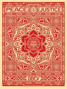 ☯☮ॐ American Hippie Psychedelic Art ~ Red Peace Justice - OBEY Shepard Fairey street artist . revolution OBEY style, street graffiti, illustration and design posters. Photographie Street Art, Obey Art, Omg Posters, Giant Posters, Shepard Fairey Obey, Illustration Photo, Urbane Kunst, Graphic Art, Graphic Design