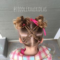 """916 Likes, 44 Comments - Cami  Toddler Hair Ideas (@toddlerhairideas) on Instagram: """"Today I sectioned the hair into quarters, did 2 braids in the bottom sections, then criss-crossed…"""""""