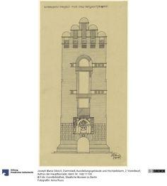 SMB-digital | Darmstadt, Ausstellungsgebäude und Hochzeitsturm, 2. Vorentwurf, Aufriss der Hauptfassade